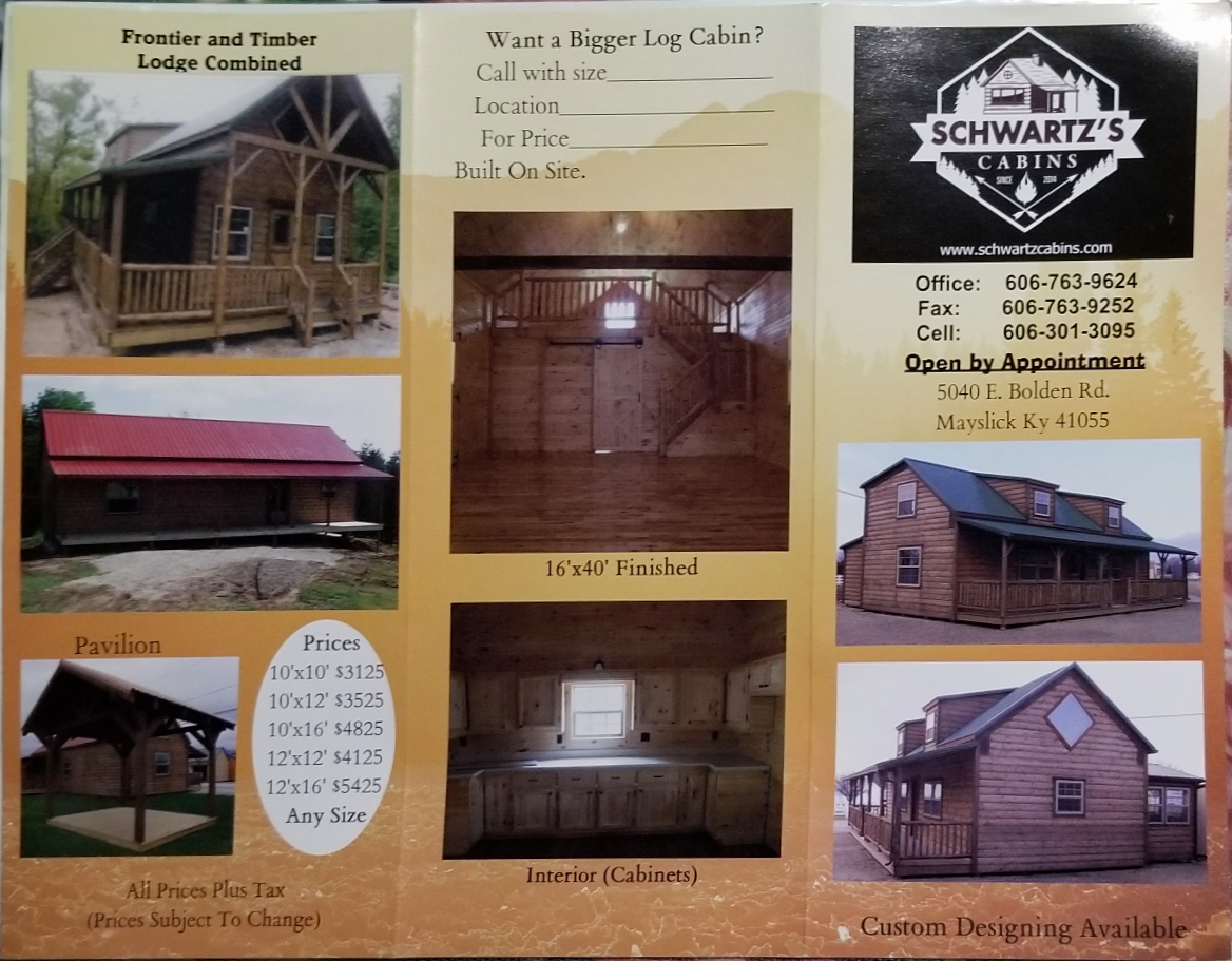Schwartz Cabin pricing outside